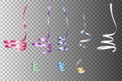 Uppsättning av realistiska färgrika Serpentein band den lätta designen redigerar elementet till vektorn Feriegarnering vektor illustrationer