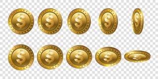Uppsättning av realistiska guld- mynt för dollar 3d Flip Different Angles Royaltyfria Bilder