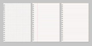 Uppsättning av realistiska illustrationer för vektor av ett sönderrivet ark av papper f Arkivbilder
