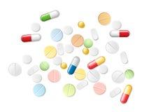 Uppsättning av realistiska preventivpillerar och kapslar för vektor Arkivbilder
