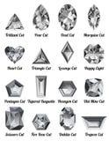Uppsättning av realistiska vita diamanter med komplexa snitt Arkivfoton