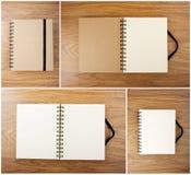 Uppsättning av Recycled pappersanteckningsboken med den svarta elastiska musikbandet Fotografering för Bildbyråer