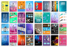 Uppsättning av reklamblad, bakgrund, infographics, låga polygonbakgrunder stock illustrationer