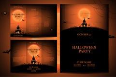 Uppsättning av reklamblad för halloween vektorillustration Royaltyfria Bilder