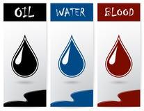 Uppsättning av reklamblad med droppar av olja, vatten och blod Royaltyfria Foton