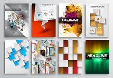 Uppsättning av reklambladdesignen, Infgraphics, broschyrdesigner Arkivbild