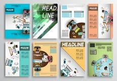 Uppsättning av reklambladdesignen, Infographic orientering Broschyrdesigner Royaltyfri Foto