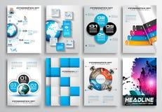 Uppsättning av reklambladdesignen, Infographics Broschyrdesigner Fotografering för Bildbyråer