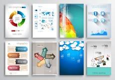 Uppsättning av reklambladdesignen, rengöringsdukmallar Broschyrdesigner Royaltyfria Bilder