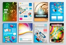 Uppsättning av reklambladdesignen, rengöringsdukmallar Broschyrdesigner Arkivbild