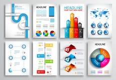 Uppsättning av reklambladdesignen, rengöringsdukmallar Broschyrdesigner, Infographics bakgrunder Arkivbild