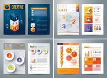 Uppsättning av reklambladet, broschyrdesignmallar Arkivfoton