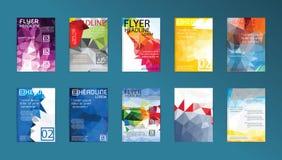 Uppsättning av reklambladet, reklamblad för broschyrdesignmallar, affischer och Plac Royaltyfria Foton