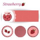 Uppsättning av rektangulära och runda klistermärkear för jordgubbedriftstopp Arkivfoto