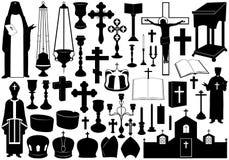 Uppsättning av religiösa beståndsdelar stock illustrationer