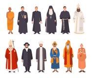 Uppsättning av religionfolk Buddistisk munk för olik teckensamling, kristna präster, patriarker, rabbinjudaist vektor illustrationer