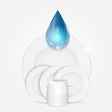 Uppsättning av rengöringdisk- och blåttdroppe Arkivfoton