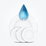 Uppsättning av rengöringdisk- och blåttdroppe Royaltyfri Fotografi