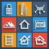 Uppsättning av rengöringsduk- och mobilsymboler för 9 fastighet. Vektor. Arkivfoton