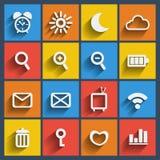 Uppsättning av 16 rengöringsduk och mobilsymboler. Vektor. Royaltyfria Foton