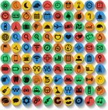 Uppsättning av 100 rengöringsduk och mobilsymboler. Vektor. Arkivbilder