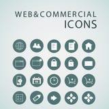 Uppsättning av rengöringsduksymboler för affär, finans och kommunikation Arkivbild