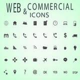 Uppsättning av rengöringsduksymboler för affär, finans och kommunikation Fotografering för Bildbyråer