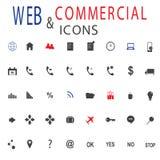 Uppsättning av rengöringsduksymboler för affär, finans och kommunikation Arkivfoto