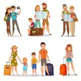 Uppsättning av resande folk stock illustrationer