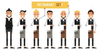 Uppsättning av restaurangarbetare Lyxfnask med uppassare i plan stil V vektor illustrationer