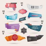Uppsättning av Retro band och etiketter, origamibaner, Royaltyfri Foto