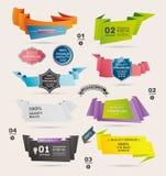 Uppsättning av Retro band och etiketter, origamibaner, Arkivbilder