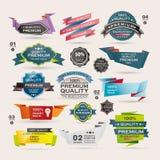 Uppsättning av Retro band och etiketter, origamibaner Arkivbild