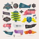 Uppsättning av Retro band och etiketter, origamibaner Royaltyfri Fotografi