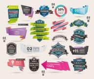 Uppsättning av Retro band och etiketter, origamibaner, v Arkivfoto