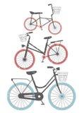 Uppsättning av retro cyklar Fotografering för Bildbyråer
