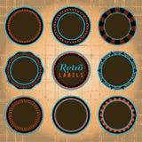 Uppsättning av Retro etiketter och emblem Arkivfoto