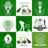 Uppsättning av retro golflogoer, emblem Arkivbild