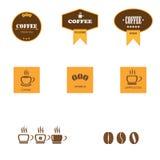 Uppsättning av retro kaffeetiketter arkivfoton