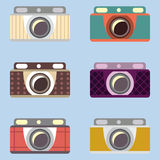 Uppsättning av retro kameror Plan design vektor illustrationer