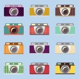 Uppsättning av retro kameror Plan design stock illustrationer