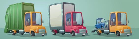Uppsättning av retro lastbilar Lastbil avskrädelastbil, bärgningsbil Arkivfoton