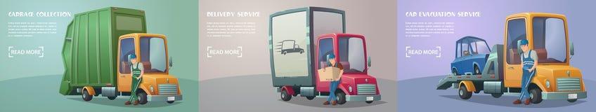 Uppsättning av retro lastbilservice Arkivfoton