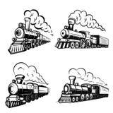 Uppsättning av retro lokomotiv på vit bakgrund Planlägg beståndsdelar för logoen, etiketten, emblemet, tecken royaltyfri illustrationer