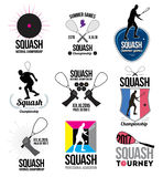 Uppsättning av retro squashlogoer, emblem och designbeståndsdelar Arkivfoto