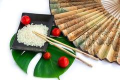 Uppsättning av ris, tomater, pinnar, grönt blad och trans. Royaltyfri Bild