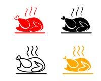 Uppsättning av Roasted symboler för höna, vektor Arkivbild