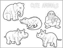 Uppsättning av roliga afrikanska djur Arkivfoton