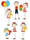 Uppsättning av roliga barn för ferie royaltyfri illustrationer