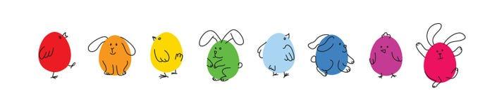 Uppsättning av roliga påskkaniner och fågelungar royaltyfri illustrationer